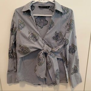 Zara Striped and Floral Button up Shirt
